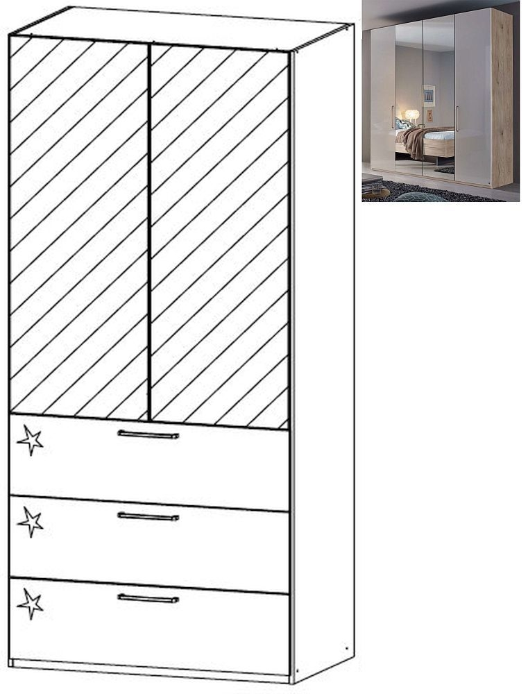 Rauch Balis 2 Mirror Door 3 Drawer Combi Folding Wardrobe in Jackson Hickory and High Gloss Soft Grey - W 101cm