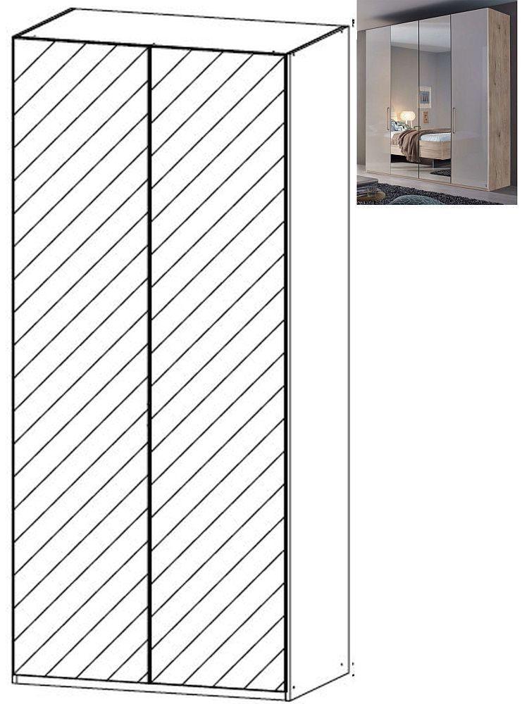 Rauch Balis 2 Mirror Door Folding Wardrobe in Jackson Hickory and High Gloss Soft Grey - W 101cm