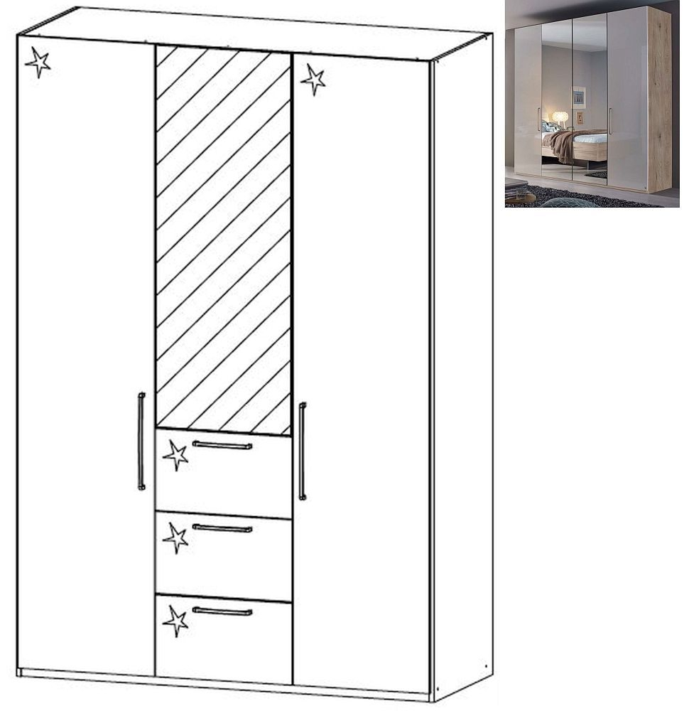 Rauch Balis 3 Door 1 Mirror 3 Drawer Combi Folding Wardrobe in Jackson Hickory and High Gloss Soft Grey - W 151cm