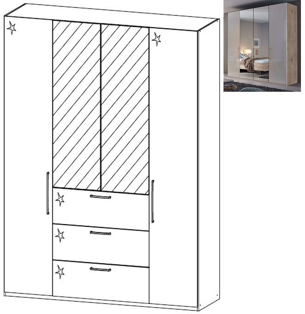 Rauch Balis 4 Door 2 Mirror 3 Drawer Combi Folding Wardrobe in Jackson Hickory and High Gloss Soft Grey - W 201cm