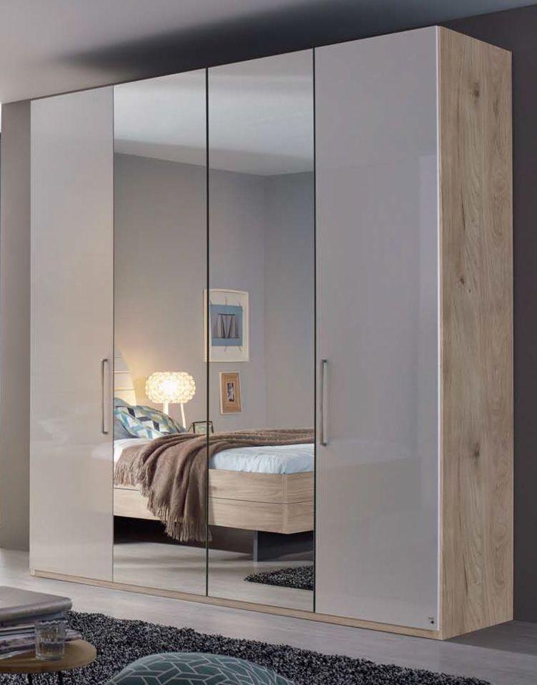 Rauch Balis 4 Door 2 Mirror Folding Wardrobe in Jackson Hickory and High Gloss Soft Grey - W 201cm