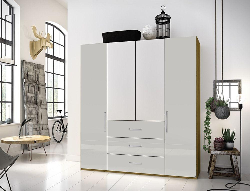 Rauch Balis 4 Door Combi Folding Wardrobe in Oak and High Gloss Soft Grey - W 201cm