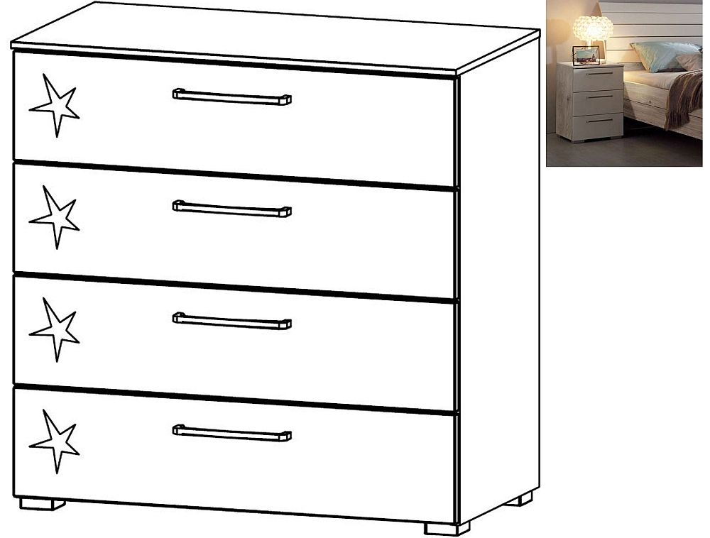 Rauch Balis 4 Drawer Chest in Jackson Hickory and High Gloss Soft Grey - W 80cm