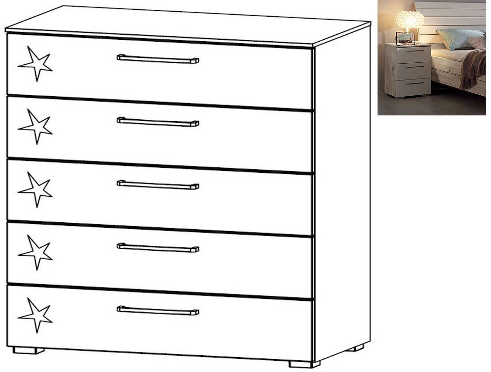 Rauch Balis 5 Drawer Chest in Jackson Hickory and High Gloss Soft Grey - W 80cm