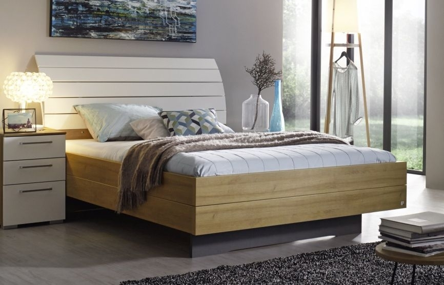 Rauch Balis 4ft 6in Double High Gloss Panel Bed in Riviera Oak and White - 140cm x 190cm