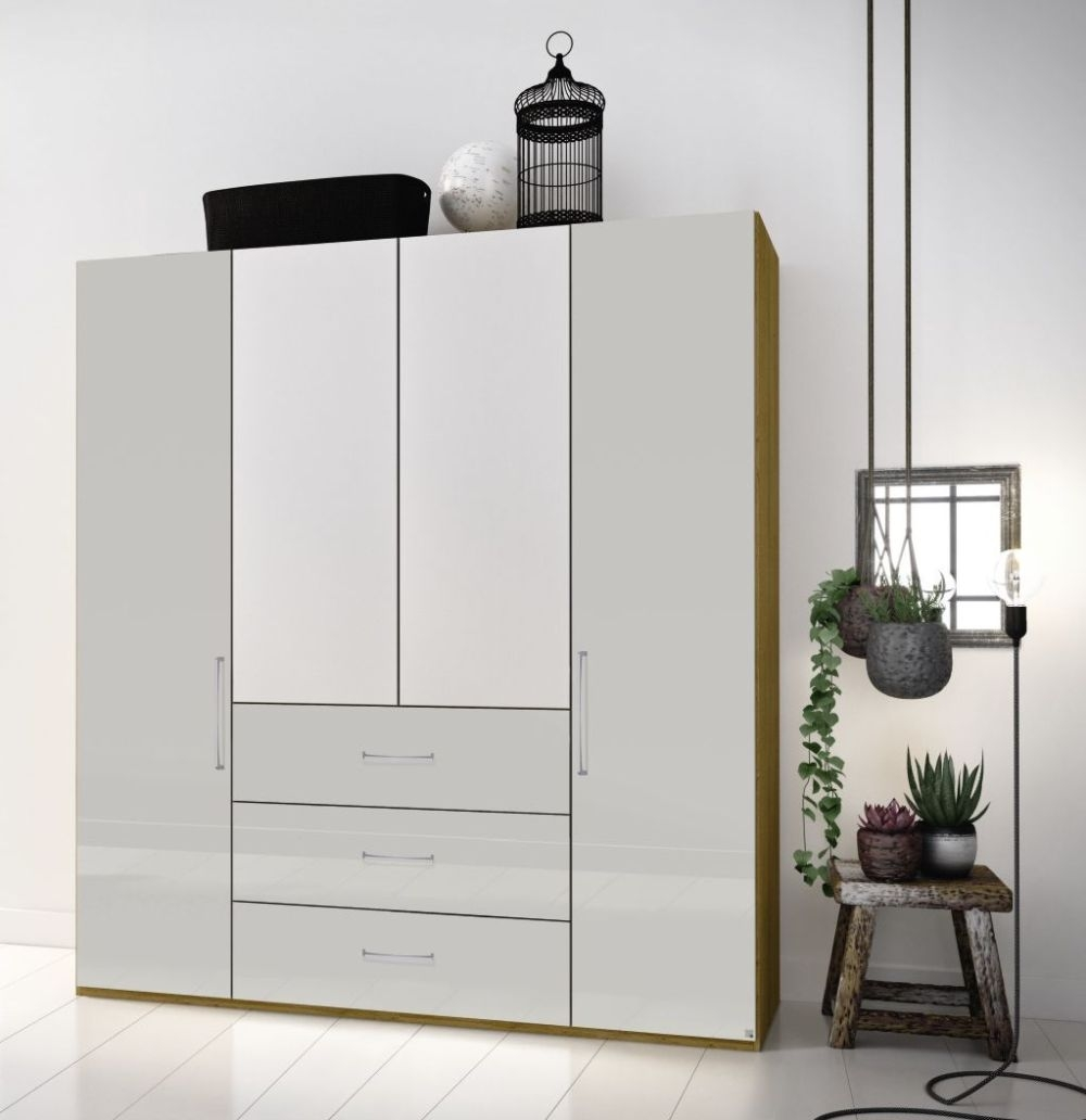 Rauch Balis 2 Mirror Door 3 Drawer Combi Folding Wardrobe in Oak and High Gloss White - W 101cm