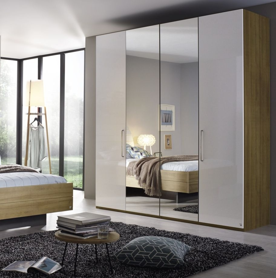 Rauch Balis 4 Door 2 Mirror Folding Wardrobe in Oak and High Gloss White - W 201cm