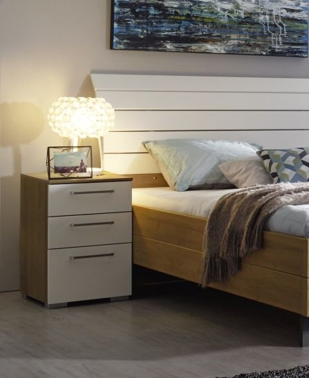 Rauch Balis 3 Drawer Bedside Cabinet in Oak and High Gloss White
