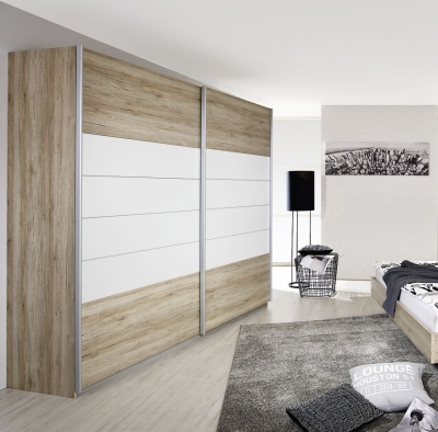 Rauch Barcelona 2 Door Sliding Wardrobe in Oak and White - W 226cm