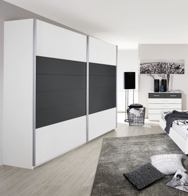 Rauch Barcelona 2 Door Sliding Wardrobe in White and Metallic Grey - W 226cm