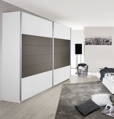 Rauch Barcelona 2 Door Sliding Wardrobe in White and Lava Grey - W 226cm