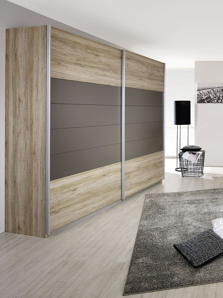 Rauch Barcelona 2 Door Sliding Wardrobe in Oak and Lava Grey - W 226cm