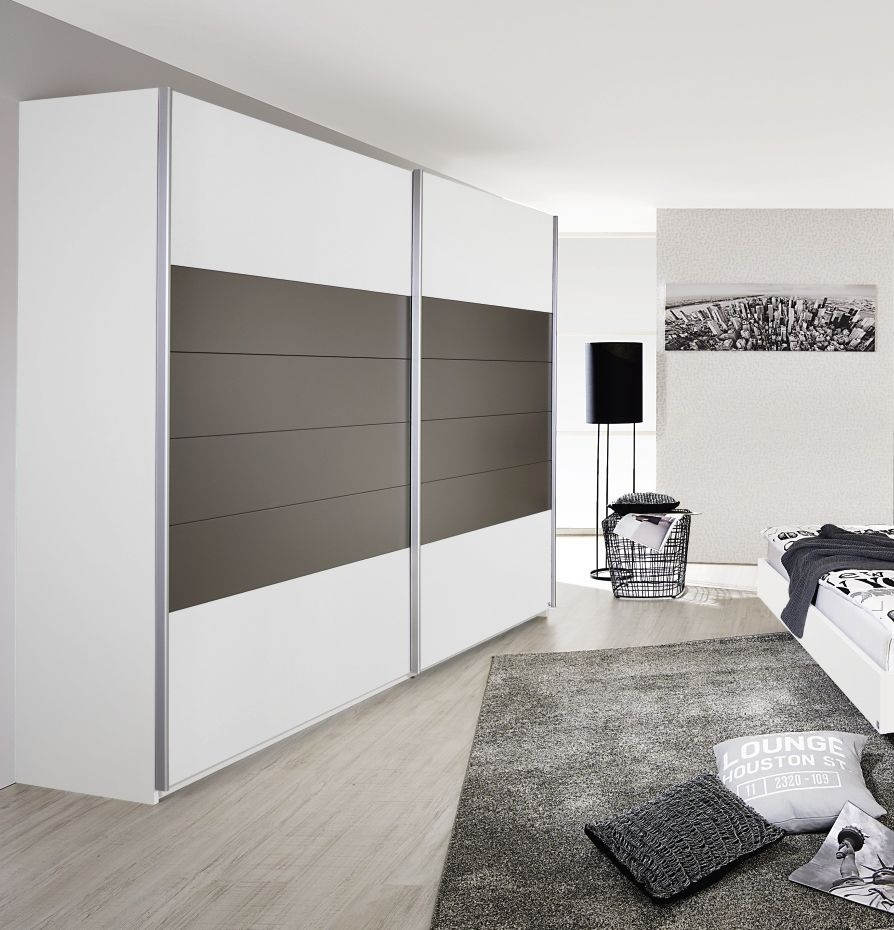 Rauch Barcelona 2 Door Sliding Wardrobe in Alpine White and Lava Grey - W 181cm