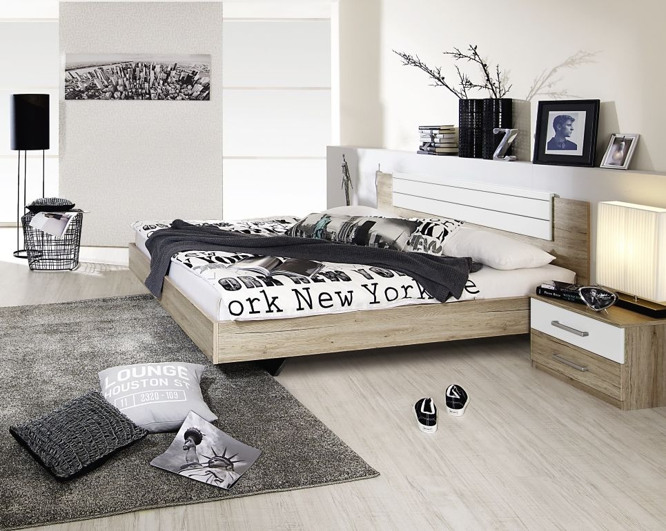 Rauch Barcelona Sanremo Oak Light with Alpine White Bed Combination - 160cm x 200cm