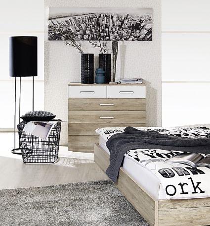 Rauch Barcelona 2 Door 5 Drawer Combi Chest in Oak and Alpine White