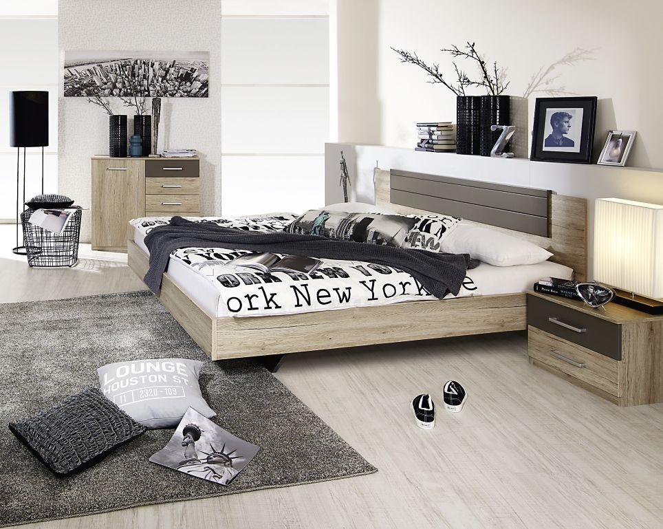 Rauch Barcelona Sanremo Oak Light with Lava Grey Bed Combination - 160cm x 200cm