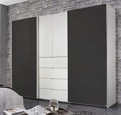 Rauch Baylando 3 Door 4 Drawer Wardrobe in Alpine White and Graphite - W 200cm