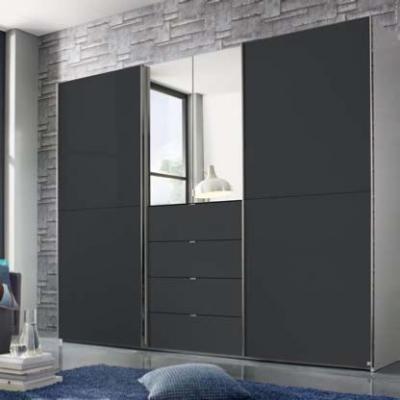 Rauch Baylando 3 Door 4 Drawer 2 Mirror Wardrobe in Alpine White and Graphite - W 200cm