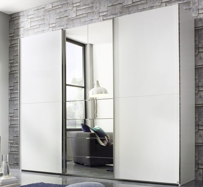 Rauch Baylando 3 Door 4 Drawer 2 Mirror Wardrobe in Alpine White - W 200cm