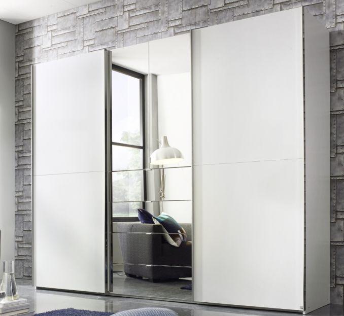 Rauch Baylando 4 Door 4 Drawer 2 Mirror Wardrobe in Alpine White - W 300cm