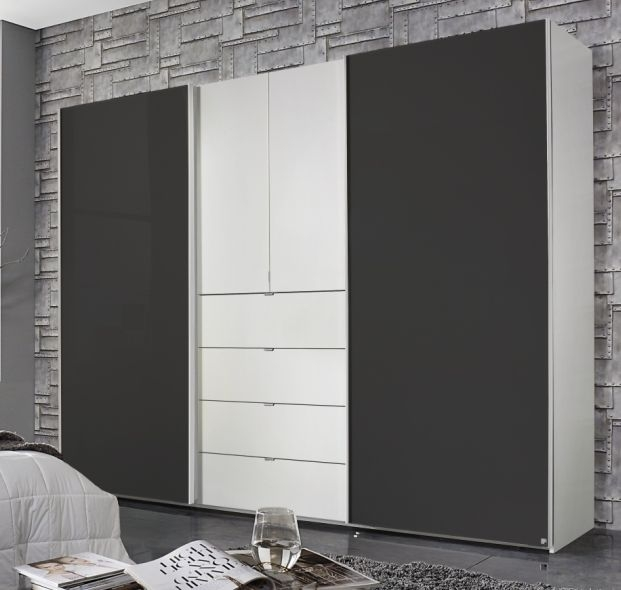 Rauch Baylando 3 Door 4 Drawer Wardrobe in Alpine White and Graphite - W 200cm
