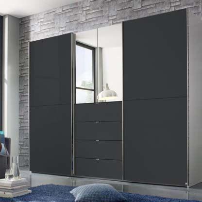 rauch baylando 2 hinged door mirror 4 drawers combi sliding wardrobe