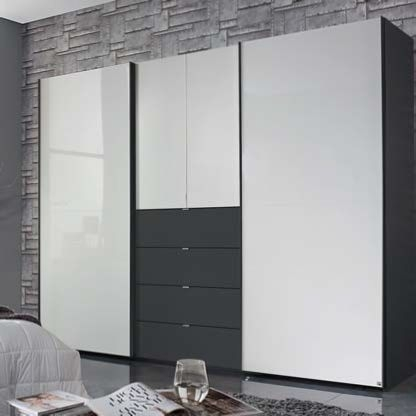 Rauch Baylando Graphite Carcase and Drawer with High Gloss White Sliding Wardrobe - W 200cm