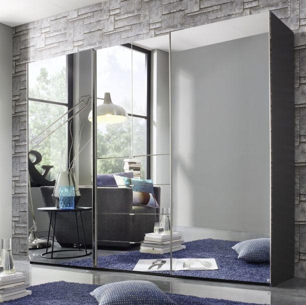 Rauch Baylando 4 Door 4 Drawer Mirror Wardrobe in Graphite - W 300cm