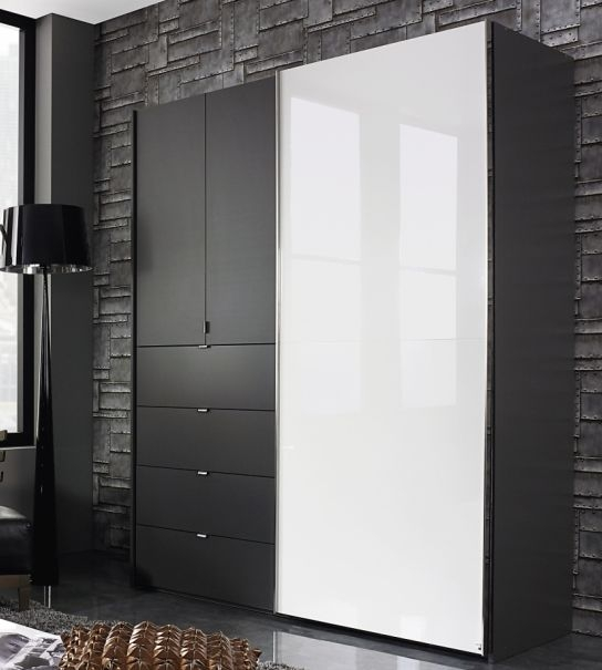 Rauch Baylando Graphite with High Gloss White Sliding Wardrobe - W 200cm