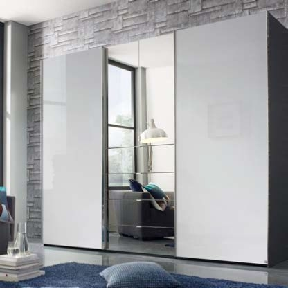 Rauch Baylando 3 Door 4 Drawer Wardrobe with Mirrored Combi Unit in Graphite and High Gloss White - W 200cm