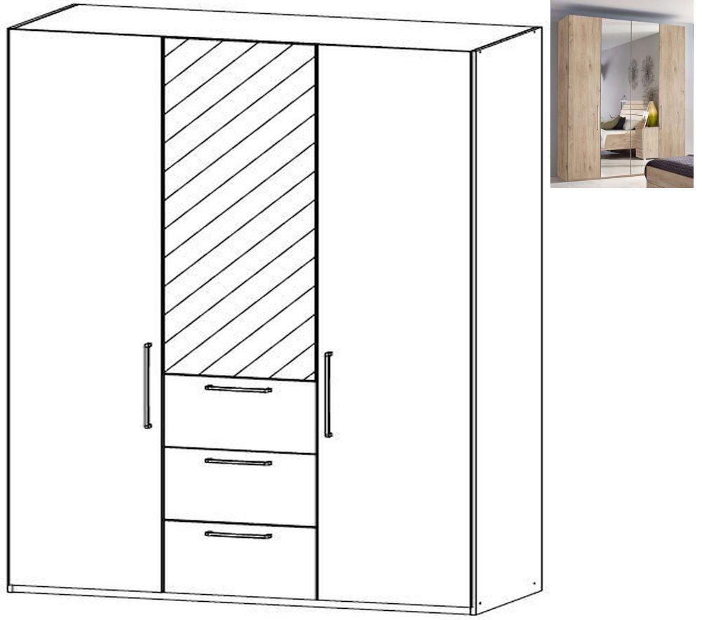 Rauch Belao 3 Door 1 Mirror 3 Drawer Combi Wardrobe in Jackson Hickory