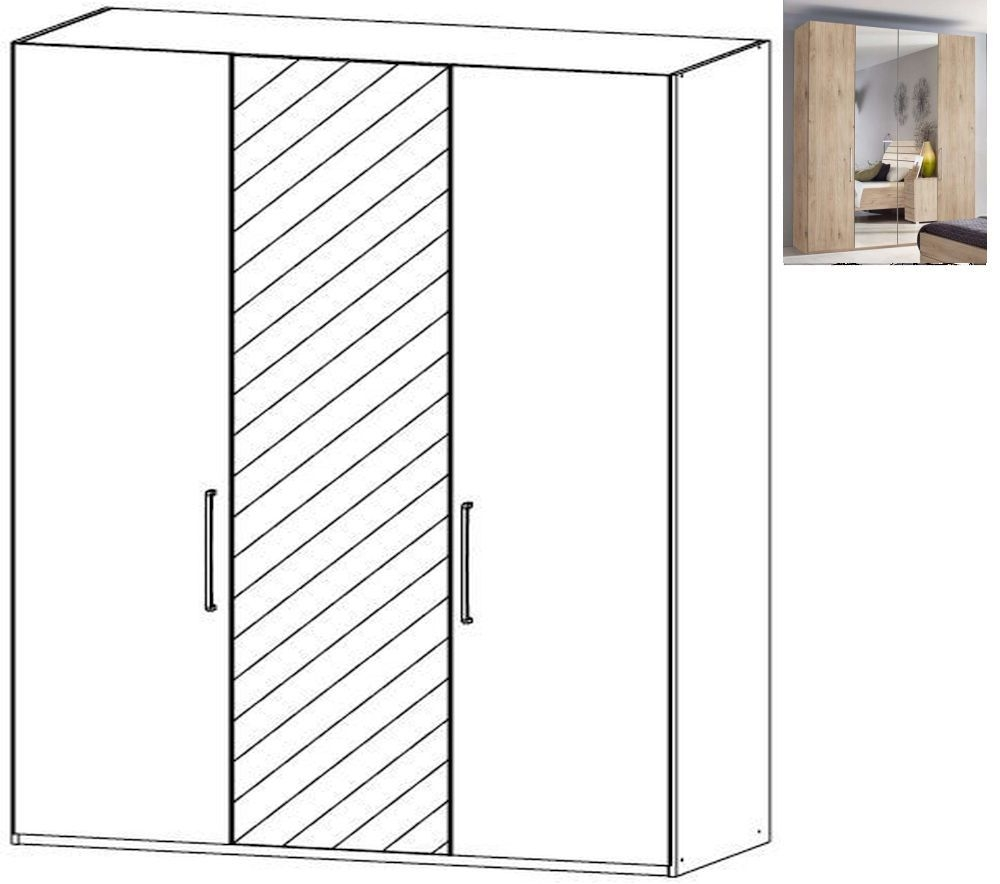 Rauch Belao 3 Door 1 Mirror Wardrobe in Jackson Hickory