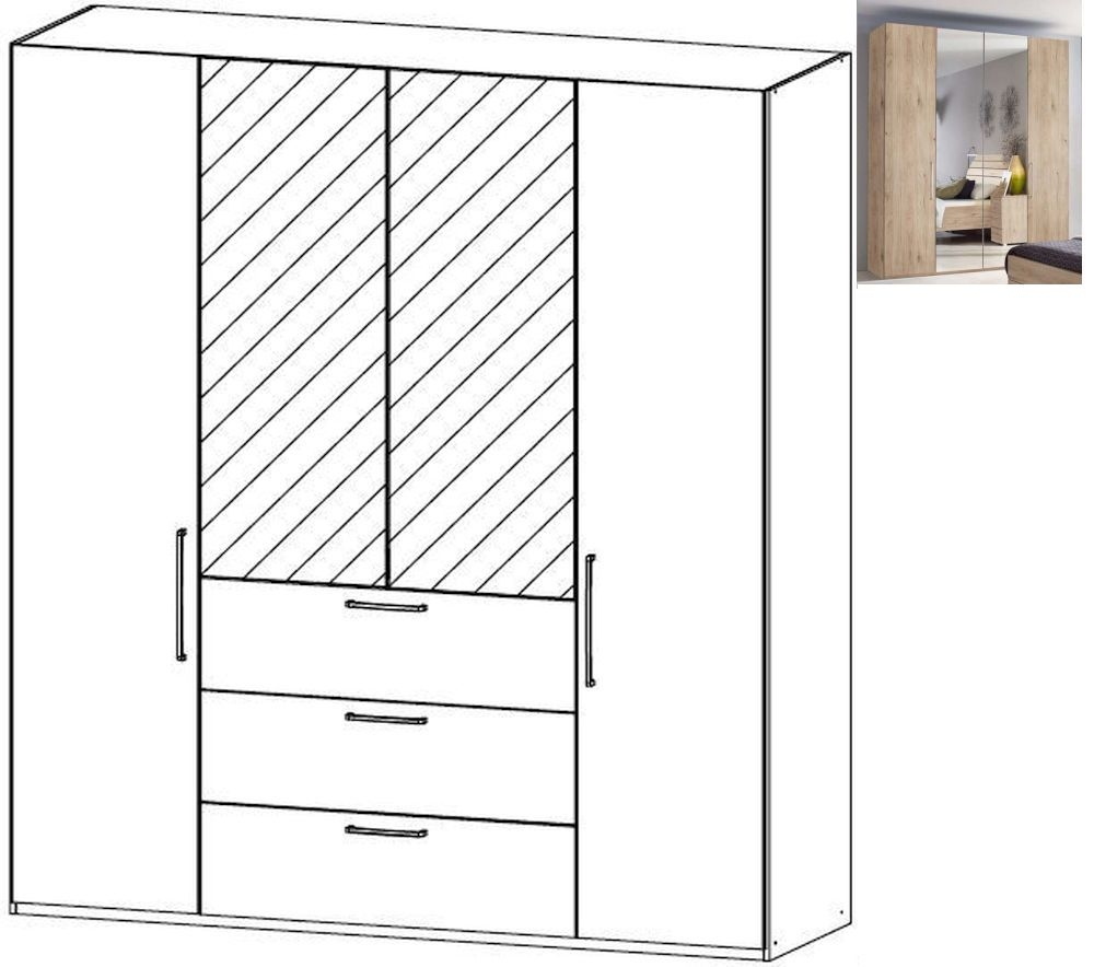 Rauch Belao 4 Door 2 Mirror 3 Drawer Combi Wardrobe in Jackson Hickory