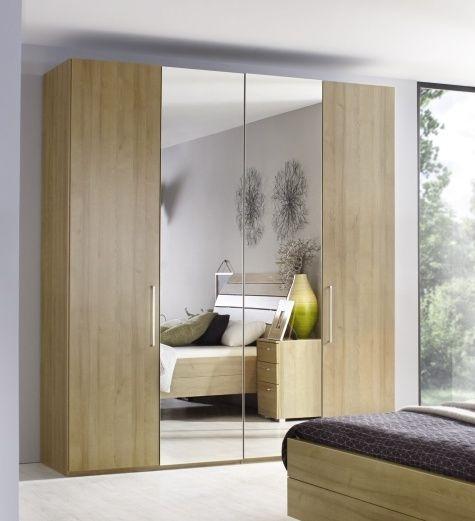 Rauch Belao 2 Mirror Door Corner Wardrobe in Oak - W 181cm