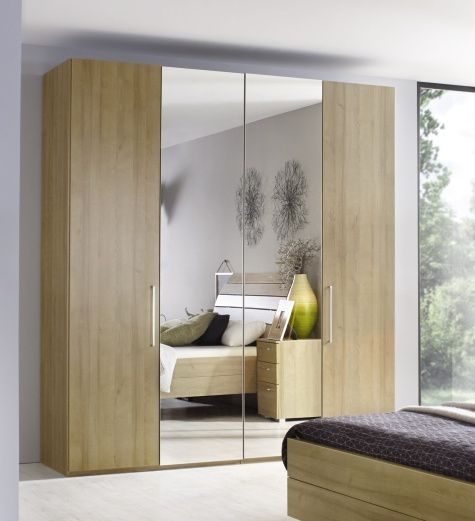 Rauch Belao Riviera Oak 4 Door Wardrobe with 2 Mirror - W 201cm