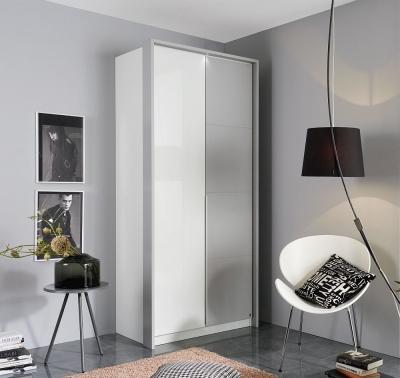 Rauch Bellezza 2 Door Wardrobe in White and Silk Grey - W 96cm
