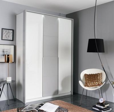 Rauch Bellezza 3 Door Wardrobe in White and Silk Grey - W 141cm