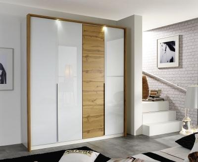 Rauch Bellezza 4 Door Wardrobe in White and Oak - W 185cm