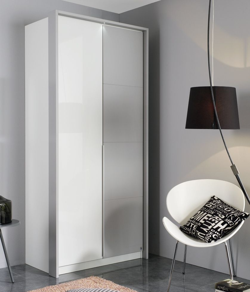 Rauch Bellezza 2 Door Wardrobe with Passepartout in Alpine White with High Gloss White and Silk Grey - W 96cm