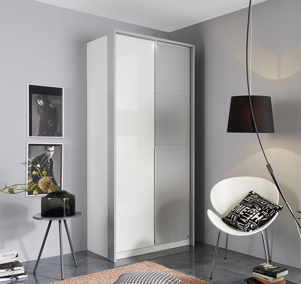 Rauch Bellezza 2 Door Wardrobe in White and Silk Grey - W 96cm