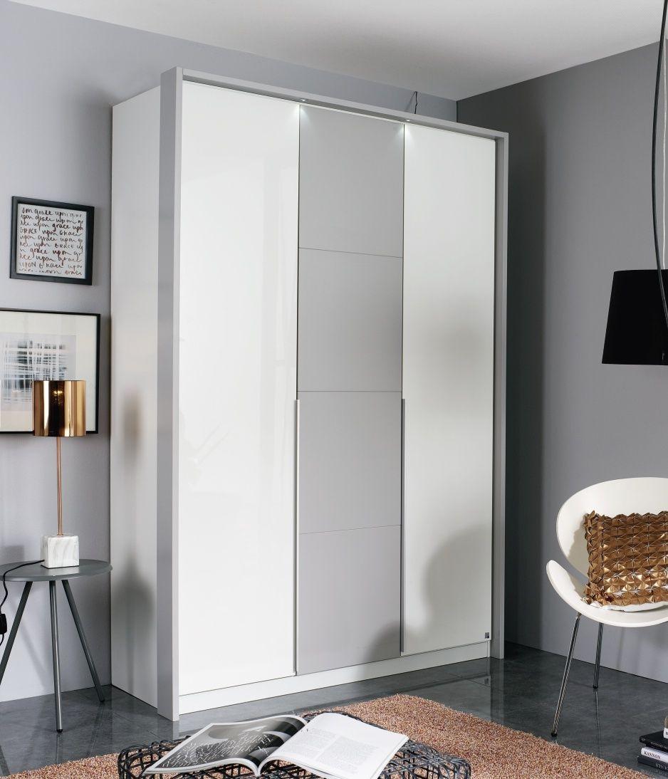 Rauch Bellezza 3 Door Wardrobe with Passepartout in Alpine White with High Gloss White and Silk Grey - W 141cm