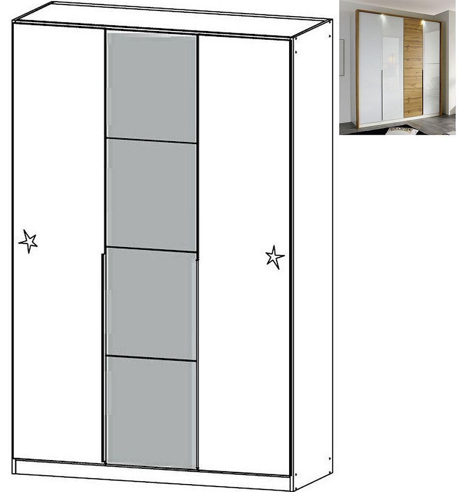 Rauch Bellezza 3 Door Wardrobe with Passepartout in Alpine White with High Gloss White and Wotan Oak - W 141cm