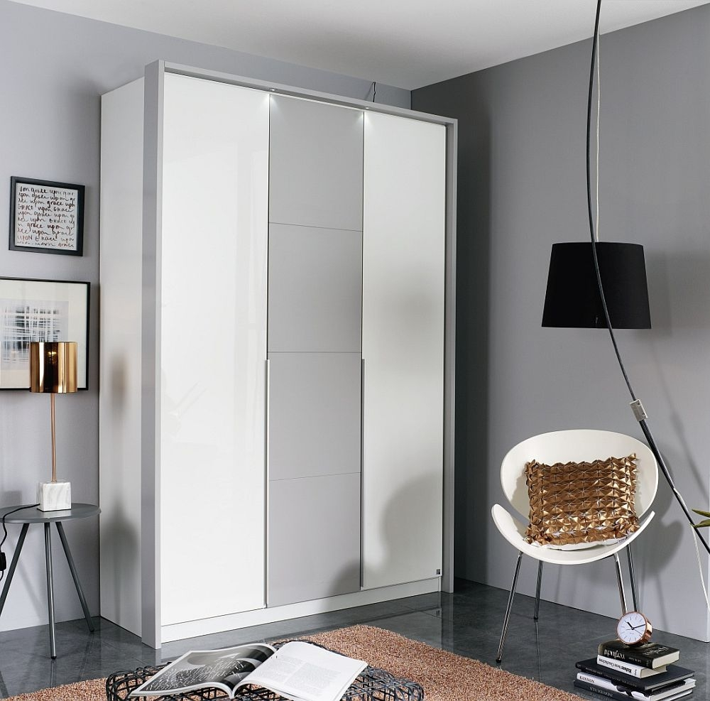 Rauch Bellezza 3 Door Wardrobe in White and Silk Grey - W 141cm