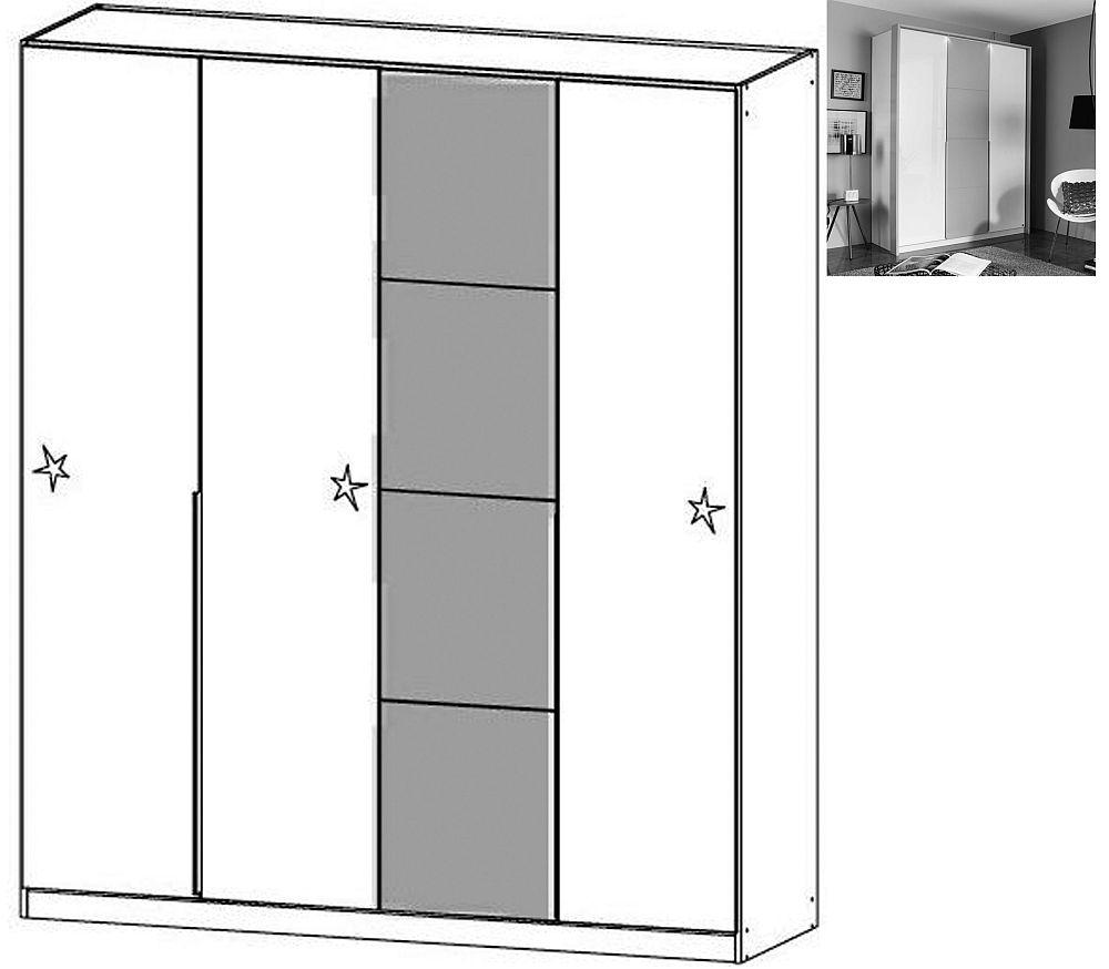 Rauch Bellezza 4 Door Wardrobe with Passepartout in Alpine White with High Gloss White and Silk Grey - W 185cm