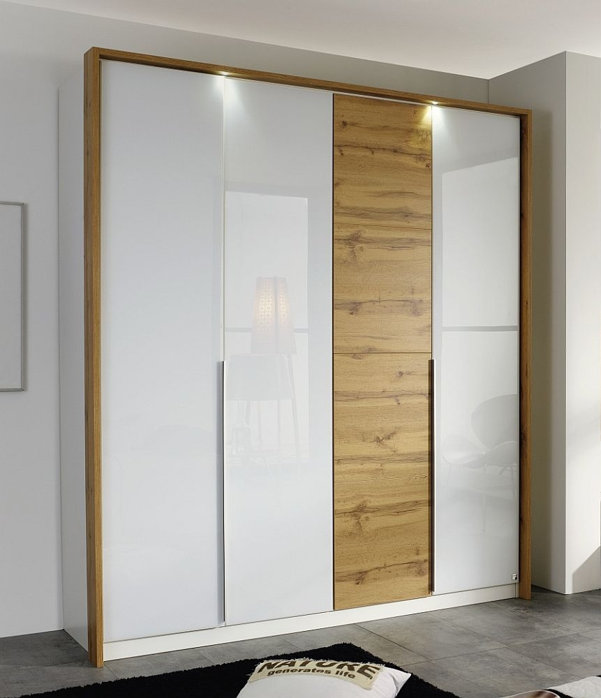 Rauch Bellezza 4 Door Wardrobe with Passepartout in Alpine White with High Gloss White and Wotan Oak - W 185cm