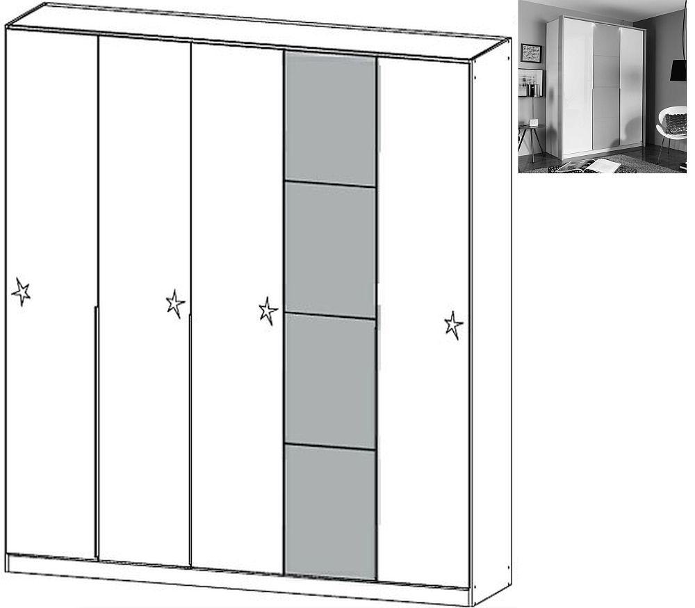 Rauch Bellezza 5 Door Wardrobe with Passepartout in Alpine White with High Gloss White and Silk Grey - W 230cm