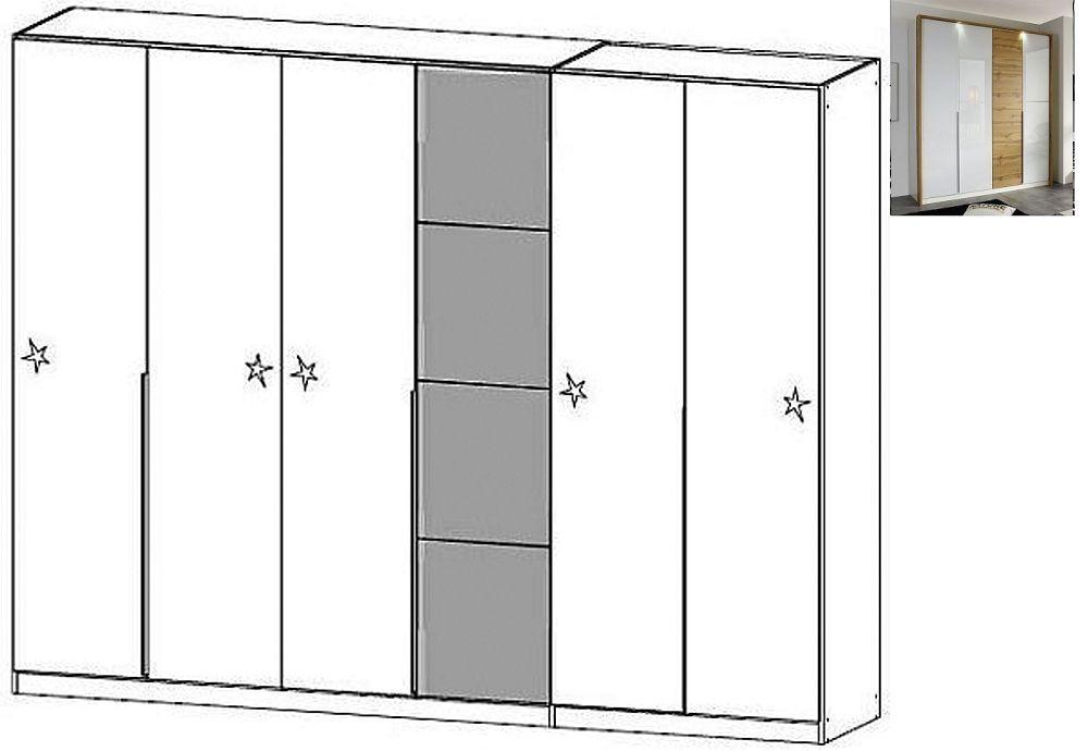 Rauch Bellezza 6 Door Wardrobe with Passepartout in Alpine White with High Gloss White and Wotan Oak - W 275cm