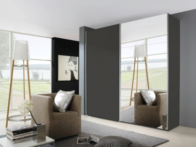 Rauch Beluga Extra 2 Door Sliding Wardrobe in Graphite - W 225cm