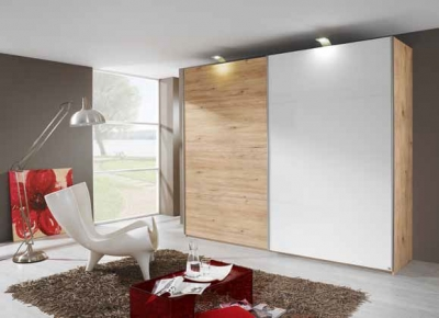 Rauch Beluga Extra 2 Door Sliding Wardrobe in Jackson Hickory and White - W 225cm