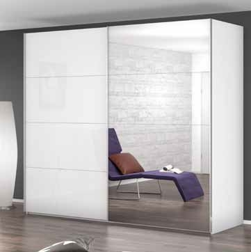Rauch Beluga Extra 2 Door 1 Mirror Sliding Wardrobe in Alpine White and Glass White with Aluminium Handle Strips - W 225cm